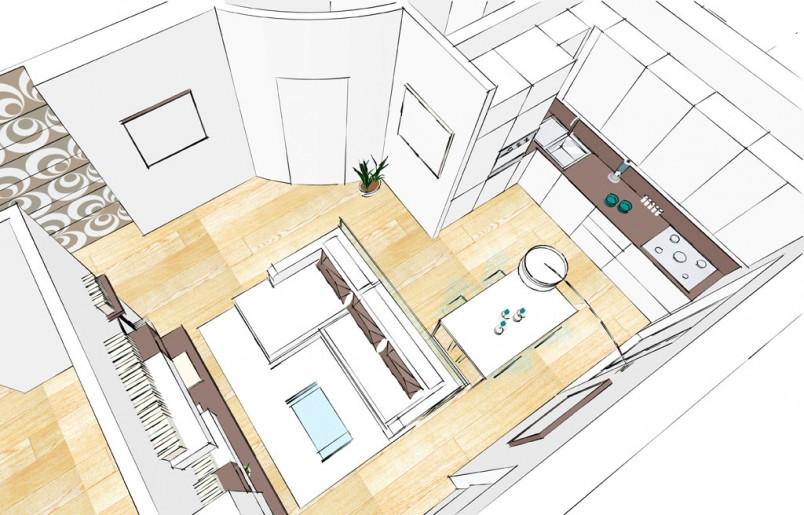 Salotto e cucina real home restyling trieste gorizia for Semplici planimetrie aperte